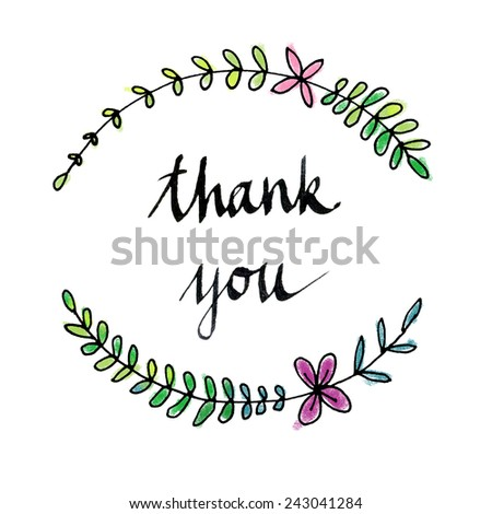 Card template with hand written Thank you text.  - stock photo