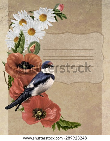 card vintage red poppies, daisies bird swallow - stock photo