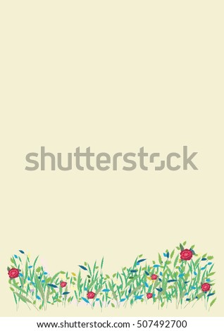 Card wild blooming meadow spring summer nature banner   flyer   bitmap image