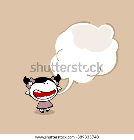 Card with a cute little creepy girl and a speech bubble window for your text (raster version) - stock photo