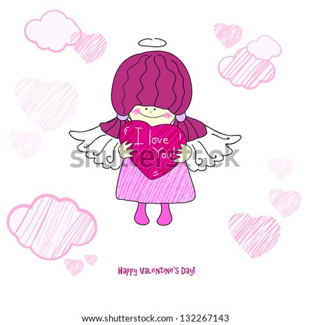 Card with a little girl, an angel for Valentine's Day. Raster copy of vector image