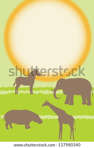 Card with african animals silhouettes over sun. Raster version. - stock photo
