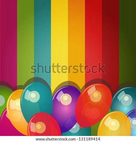 Card with colorful background and balloons - stock photo