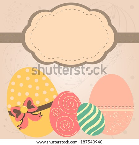 Card with easter eggs in retro style