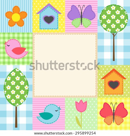 Card with flowers, trees, and butterflies. Raster version - stock photo