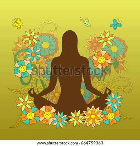 card with girl silhouette in yoga lotus pose on the hand drawn floral pattern for visit card, posters yoga classes, courses, banners.