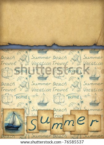 Card with illustration of sailing boat