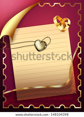 Card with old paper sheet and two wedding rings.