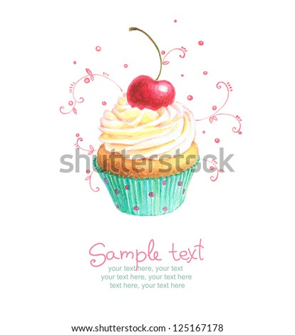 card with painted cupcake - stock photo
