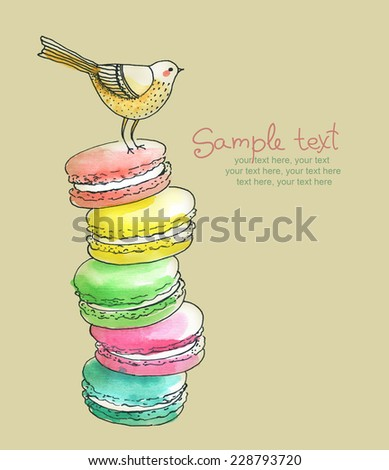 card with painted french dessert macaroons - stock photo