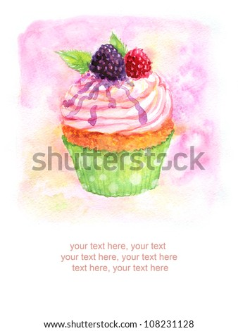 card with painted watercolor cupcake - stock photo