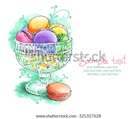 card with painted watercolor french dessert macaroons - stock photo