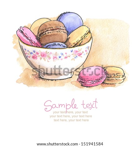 card with painted watercolor french dessert macaroons in bowl  - stock photo