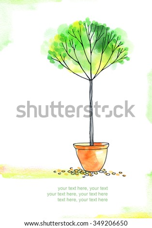 card with painted watercolor tree in pot - stock photo