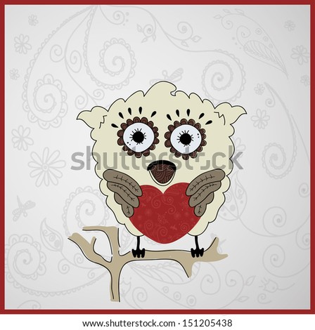 Card with pretty owl on ornate background. Raster copy of vector illustration - stock photo