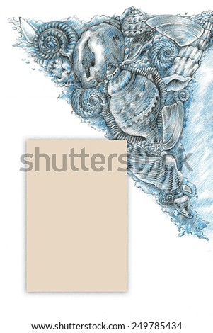 Card with shells 2. Hand drawing pencils