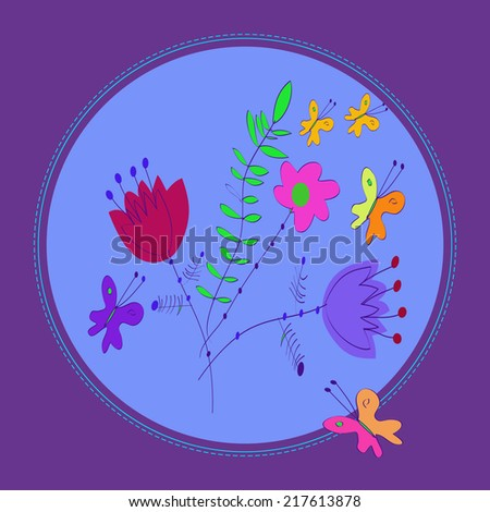 Card with summer floral motif of flowers, bells, butterflies  in a circle,  on a purple frame.Handmade. Raster version. - stock photo