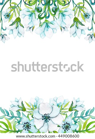 Card With Watercolor Blue And Green Leaves Light Flowers