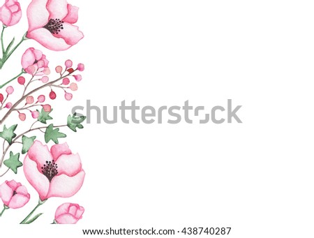 Card with Watercolor Pink Flowers, Berries and Green Leaves