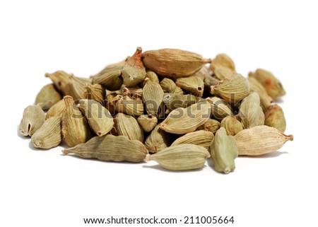 cardamom on white background - stock photo