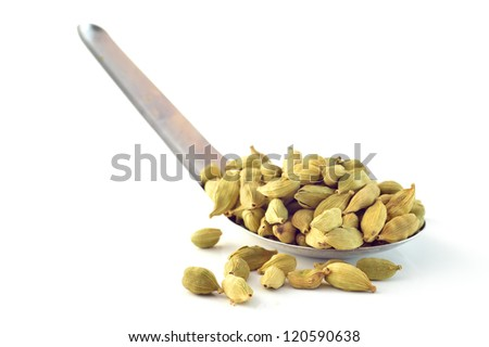 Cardamom seeds, star anise, cinnamon on a white background - stock photo