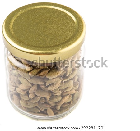Cardamom Spices Mason Jar Over White Stock Photo 292281170 ...