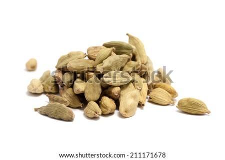 cardamon on white background - stock photo