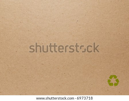Cardboard Back Cover of a Notebook with Recycling Symbol - stock photo