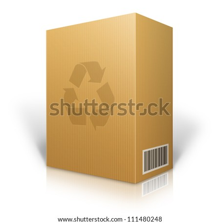 cardboard box blank for shipping order moving or storage with labels and bar code ,recycle logo - stock photo