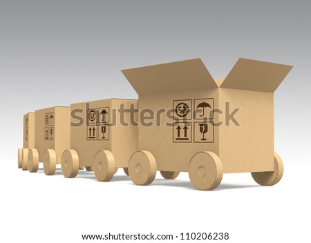 cardboard box cars arranged in line