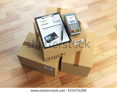 Cardboard box, clipboard with receiving form and pos terminal and credit card. Delivery concept. 3d illustration - stock photo