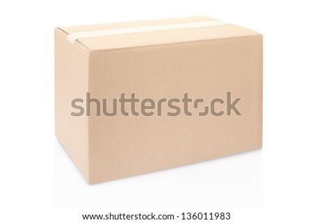 Cardboard box closed isolated on white, clipping path included