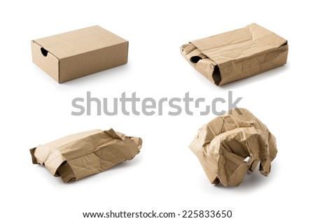 Cardboard box collection, Clipping path , Isolated on a white - stock photo