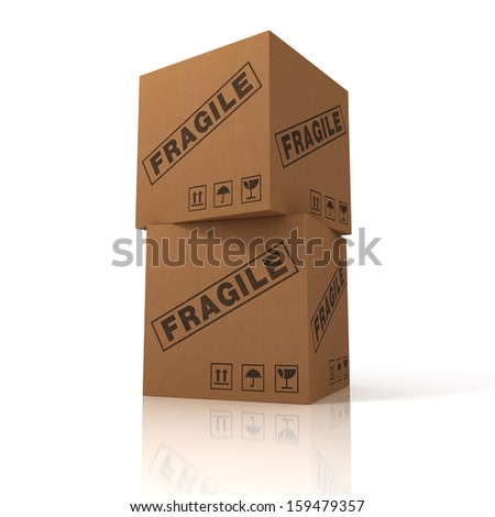 Cardboard box for cargo isolated on white background