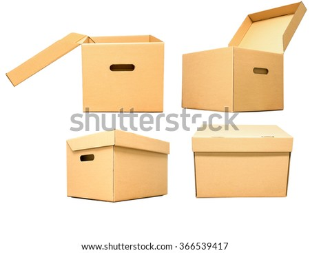 cardboard box for package object, isolated on white background