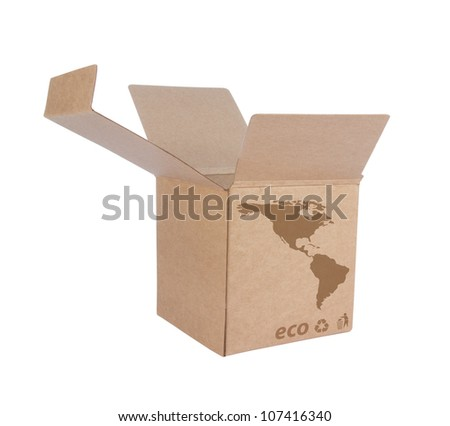 Cardboard box front side with Icon ecological map USA isolated on white background