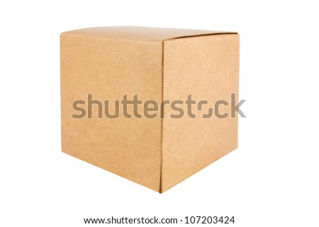 Cardboard box front side with isolated on white - stock photo