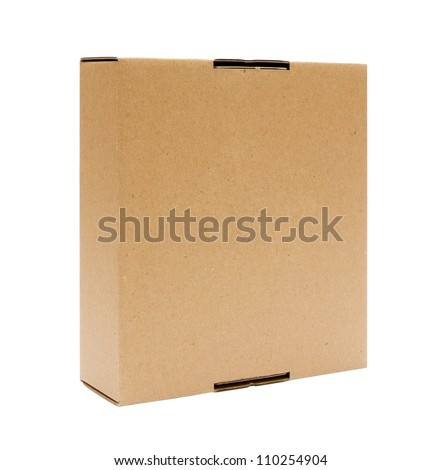 Cardboard box front view with isolated on white - stock photo