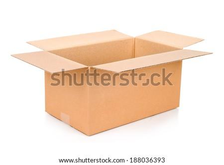Cardboard box. Front View. With shadows and isolated on white.
