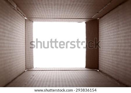 Cardboard box inside view - stock photo