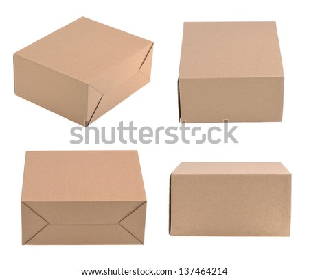 cardboard box isolated on the white background - stock photo