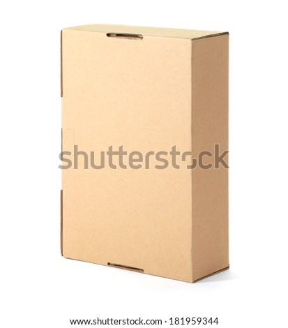 Cardboard box, isolated on white. - stock photo