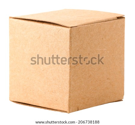 Cardboard box, isolated on white - stock photo