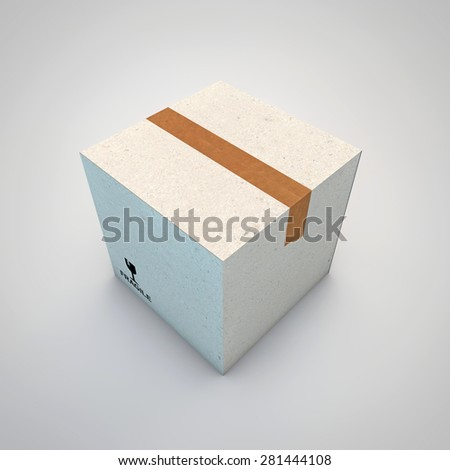cardboard box isolated on white background - stock photo