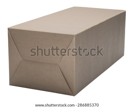 Cardboard box  isolated on white. No shadow. - stock photo