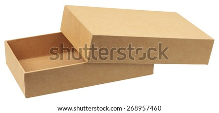 Cardboard box. It is a two piece box with a separate lid that fits over a bottom tray. Object is isolated on white background without shadows. - stock photo