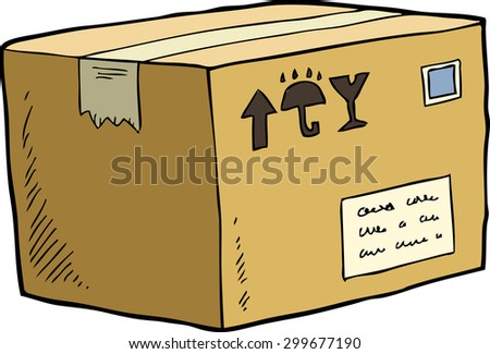 Cardboard box on a white background raster version - stock photo