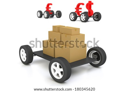 cardboard box on truck - stock photo