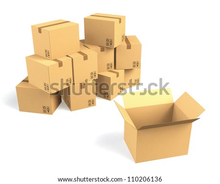 cardboard box, one open, others closed