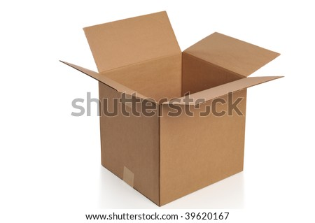 Cardboard box opened isolated on a white background